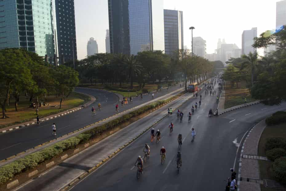Jakarta Car Free Day. People ride their bicycles along Jalan Sudirman and MH Thamrin.