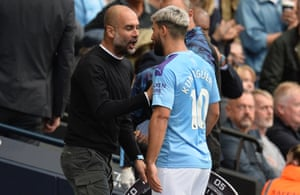 Sergio Agüero is receives an earful from his manager as he leaves the pitch during City's game against Chelsea.