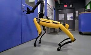 Boston Dynamics' SpotMini, a dog-like robot that can open doors.