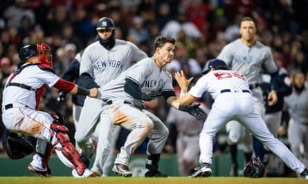 The Red Sox and Yankees during a brawl in their MLB game last month.