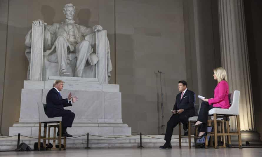 Trump's Fox interview was shot in the Lincoln Memorial, a Washington landmark. During the interview he said the press had treated Lincoln badly, but him worse.