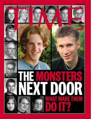 TIME MAGAZINE front page 3 May 1999 A gallery of the victims in the Littleton, Colo., school shootings surrounds suspects Dylan Klebold, left, and Eric Harris on the cover of the May 3, 1999, cover of TIME magazine