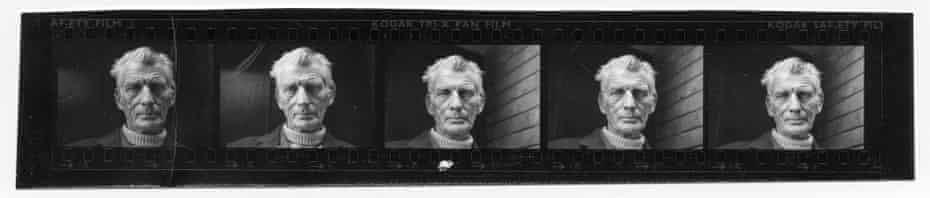 Jane Bown's contact strip containing her celebrated portrait of Samuel Beckett leaving the Royal Court theatre, London.