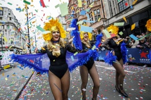 Participants take part in the annual New Year's Day Parade in central London