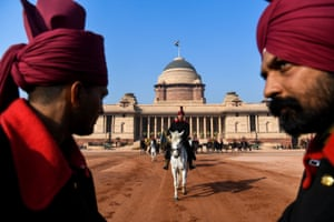 Rehearsals for the upcoming Republic Day Parade at the presidential palace in New Delhi