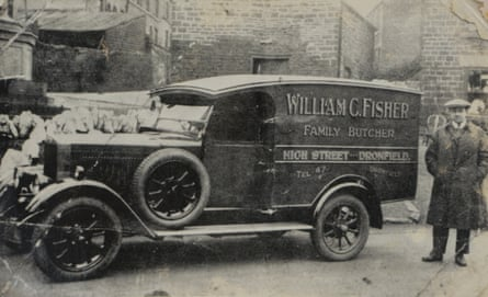 Frank Fisher's grandfather, William, with his butcher's van, circa 1930s.