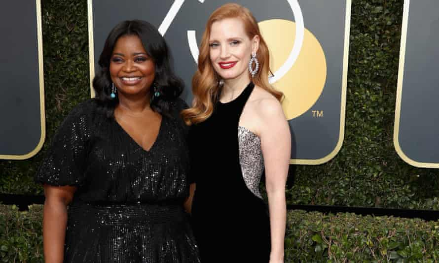 Octavia Spencer (left) and Jessica Chastain (right). 'Chastain tied Spencer's pay to hers, increasing Spencer's pay fivefold. It was a money-where-her-mouth-is-moment'