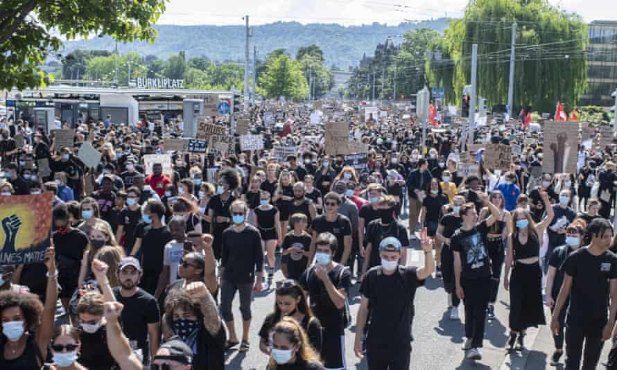 Protesters march in Zurich in June this year demanding action against racism