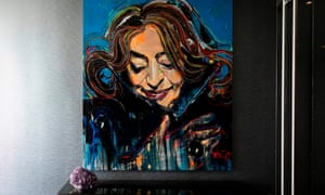 A portrait of Zaha Hadid in the sky lounge of her One Thousand Museum building in Miami.