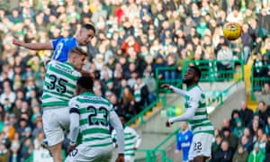 Nikola Katic beats Kristoffer Ajer in the air to give Rangers a 2-1 lead.