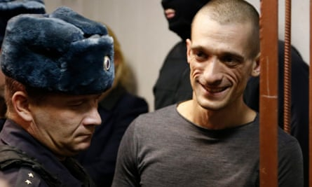 Performance artist Pyotr Pavlensky in a courtroom in Moscow.