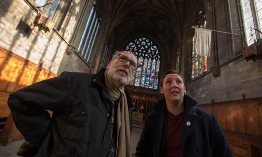 Ian Jack and Mhairi Black in Paisley abbey, whose Victorian window is dedicated to William Wallace.