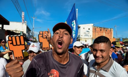 Supporters of Venezuelan opposition presidential candidate Henri Falcon attend the closing rally of his campaign ahead of the weekend's presidential election, in Barquisimeto, Lara state, Venezuela on Thursday.