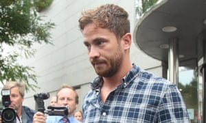 Danny Cipriani leaving Jersey magistrates' court in St Helier, where he admitted common assault and resisting arrest.