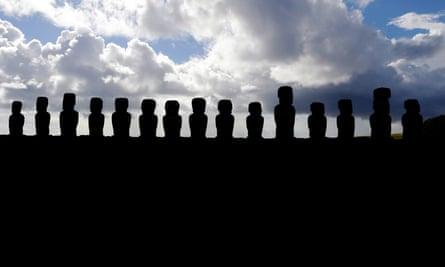 Moai statues at Ahu Tongariki, on Easter Island.