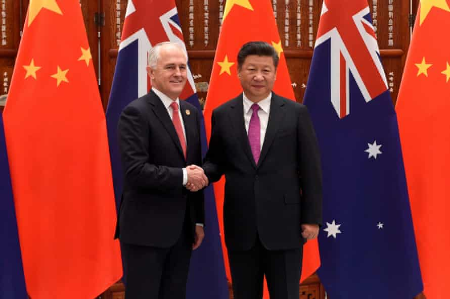 Former Australian prime minister Malcolm Turnbull with Chinese president Xi Jinping. Turnbull's decision to ban 'high risk' vendors such as Huawei from its 5G network is a source of friction with Beijing