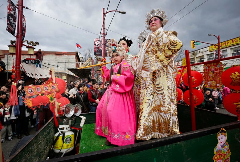 Performers dress up during the Chinese New Year Parade at Chinatown Vancouver