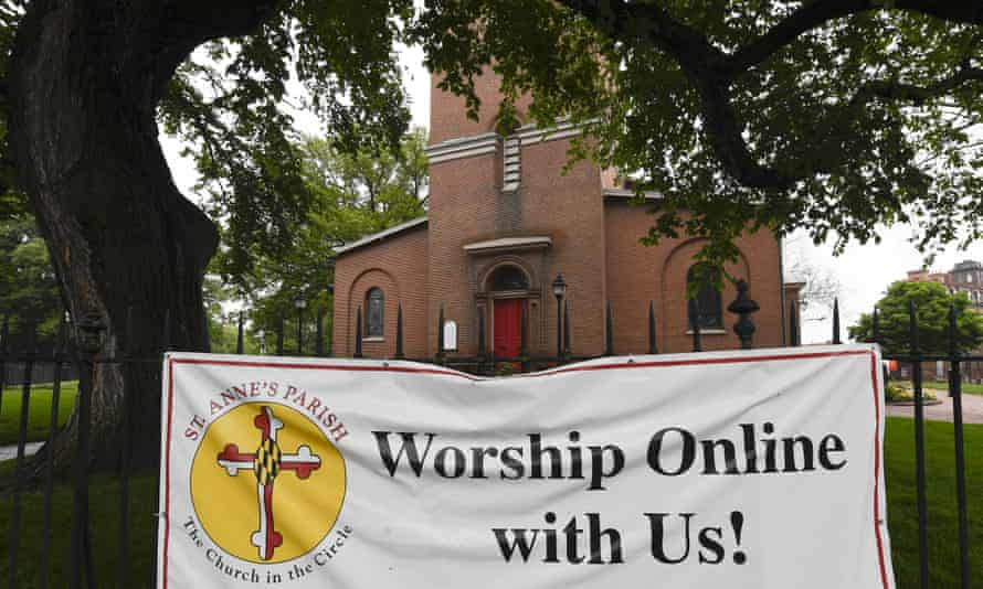 A sign hangs on the fence of St. Anne's Episcopal Church in Annapolis, Maryland ,US