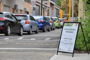 Long lines of cars queue for Covid testing in the inner west suburb of Summer Hill on Wednesday.