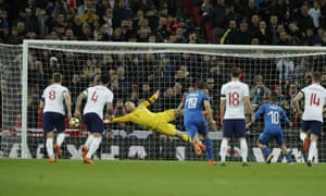 Lorenzo Insigne, second right, equalises for Italy from the penalty spot.