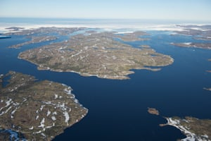 Panoramic of Alexis Bay with pack ice crowding the entrance-exit from the bay.