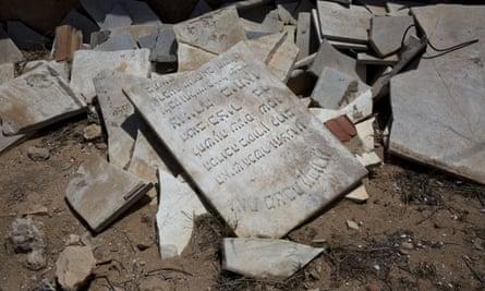 Broken headstones at the cemetery behind Djerba's Great Synagogue.