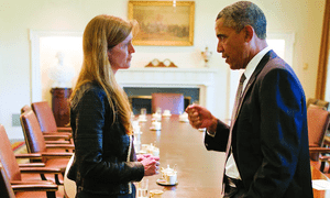 Samantha Power with Barack Obama in the White House in 2013.