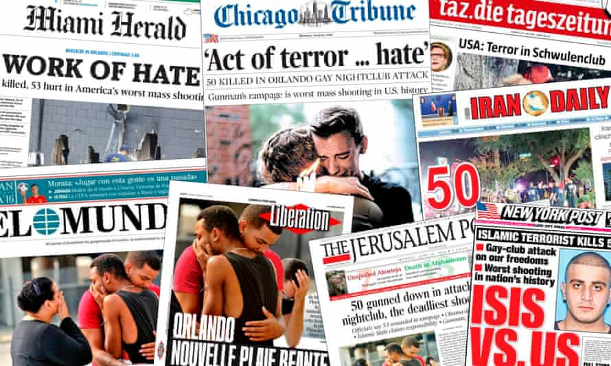 Newspapers around the world reporting the Orlando shooting.