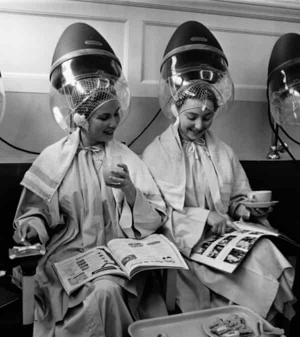 Under hair dryers at the Valentino & Rita of Knightsbridge in the 1950s.