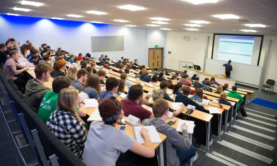 Aberystwyth University students attending a lecture.