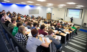 Students at a lecture at Aberystwyth University before the pandemic.