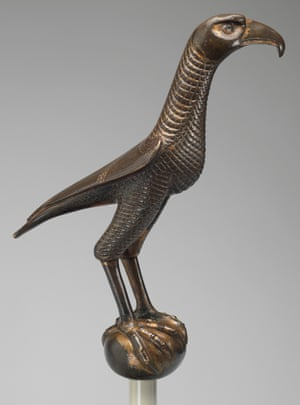 Gilded bronze falcon dating from 13th-century Sicily, on loan from New York's Metropolitan Museum.