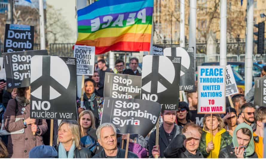 Protests against bombings in Syria in London on 16 April.