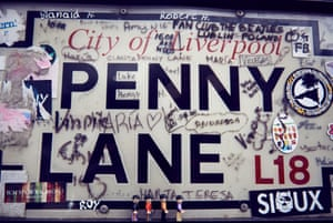 Penny Lane in Liverpool, which was named after slave ship owner James Penny, but is now more often associated with the Beatles song.