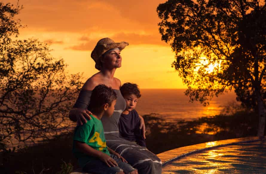 Decca Aitkenhead with her sons at Treasure Beach in Jamaica