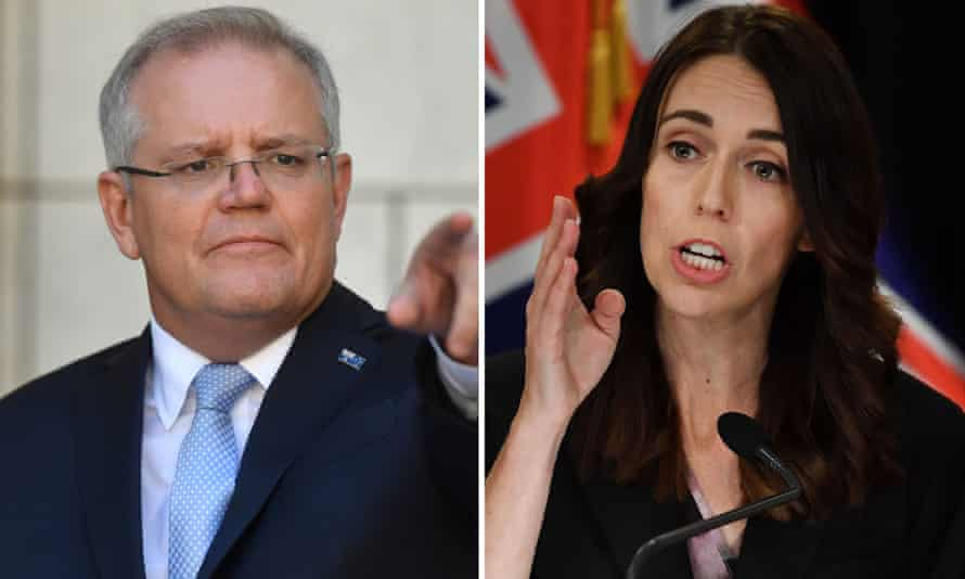 Australian prime minister Scott Morrison and New Zealand prime minister Jacinda Ardern