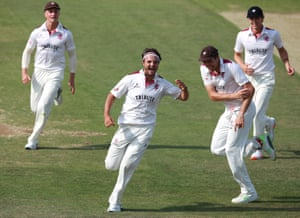 Somerset's Jack Brooks celebrates after running out Ricardo Vasconcelos with a direct hit.