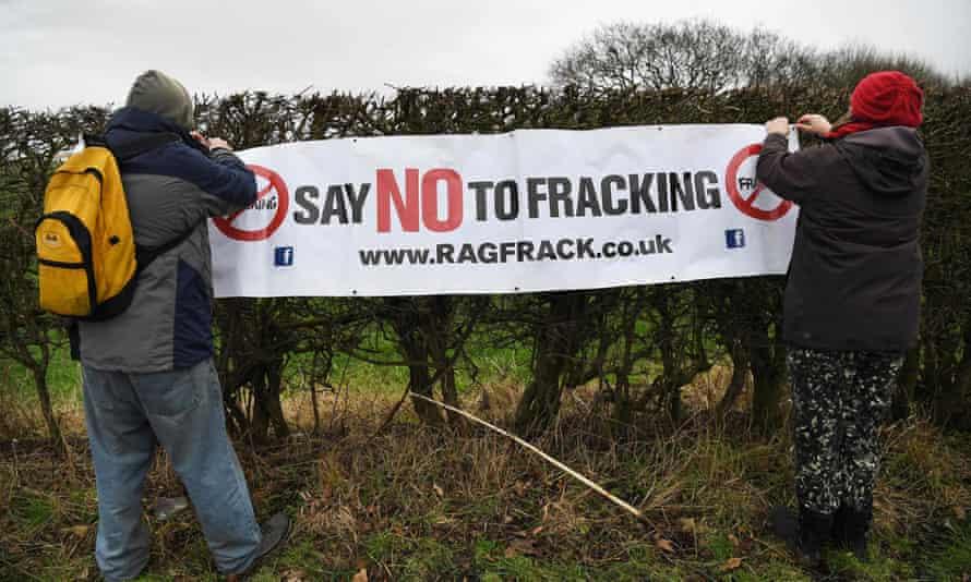 Anti-fracking protesters at Little Plumpton near Blackpool.