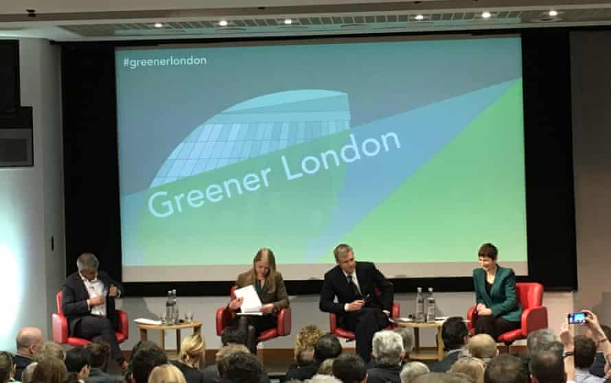 Green Alliance hustings. L-R: Sadiq Khan, Sian Berry, Zac Goldsmith, Caroline Pidgeon.