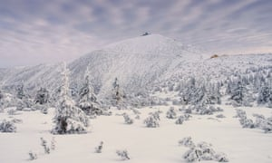 Snowy landscape and mountains, Krkonoše, Czech Republic