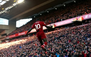 Liverpool's Sadio Mane celebrates scoring his first of two to help The Red's beat Cardiff 4-1.