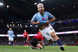 Sergio Agüero celebrates after scoring City's second goal during the Manchester derby at The Etihad Stadium, helping City to win 3-1. Agüero's goal was his 151st in The Premier League and his eight against Manchester United - only Alan Shearer (10) has more against the Red Devils in the competition.