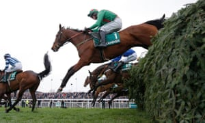 Balnaslow jumps The Chair on his way to victory in the Foxhunters' Chase in April 2018.