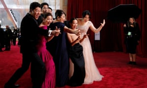 The cast of Parasite pose on the red carpet at the 92nd Academy Awards in Hollywood, Los Angeles.