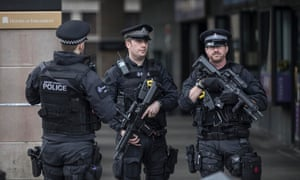 Heightened security outside the Houses of Parliament the day after the attack on Westminster Bridge.