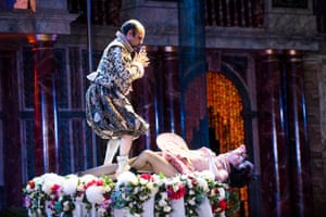 Zubin Varla (Oberon) and Meow Meow (Titania) in A Midsummer Night's Dream by William Shakespeare at Shakespeare's Globe. Directed by Emma Rice