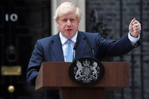 Boris Johnson delivers a statement outside 10 Downing Street on 2 September