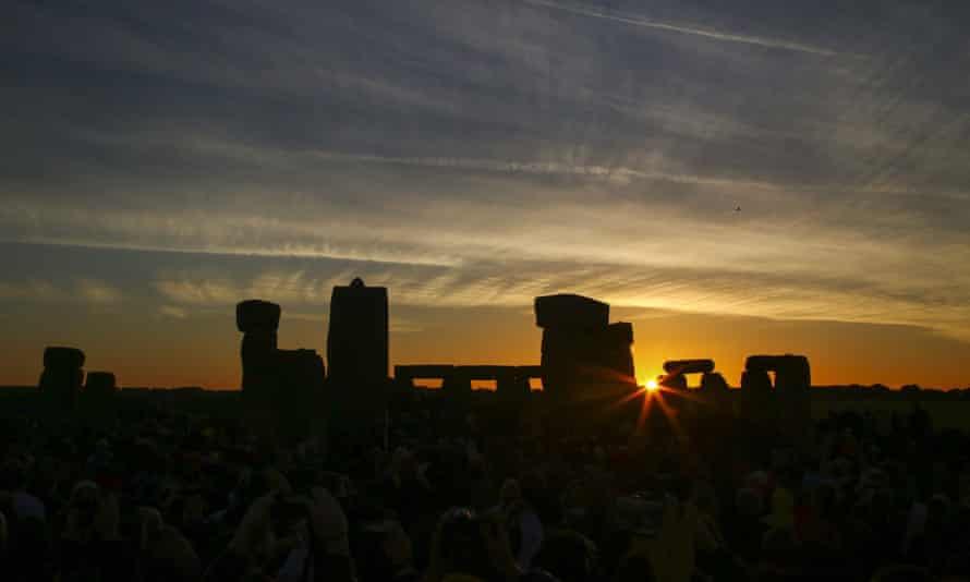 The sun rising at Stonehenge on 21 June 2018.