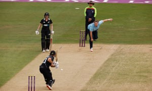 England's Anya Shrubsole in action as she bowls at New Zealand's Suzie Bates.