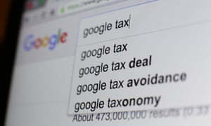 The google search results on Google taxes